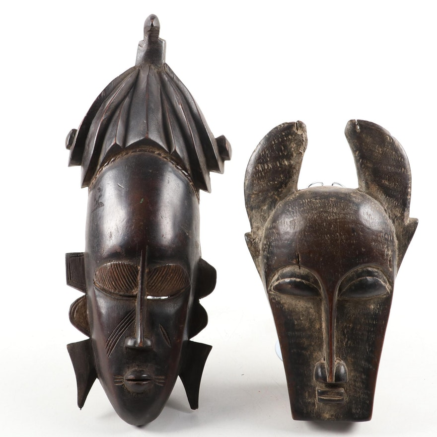 Baule and Senofu Style Wood Masks, West Africa