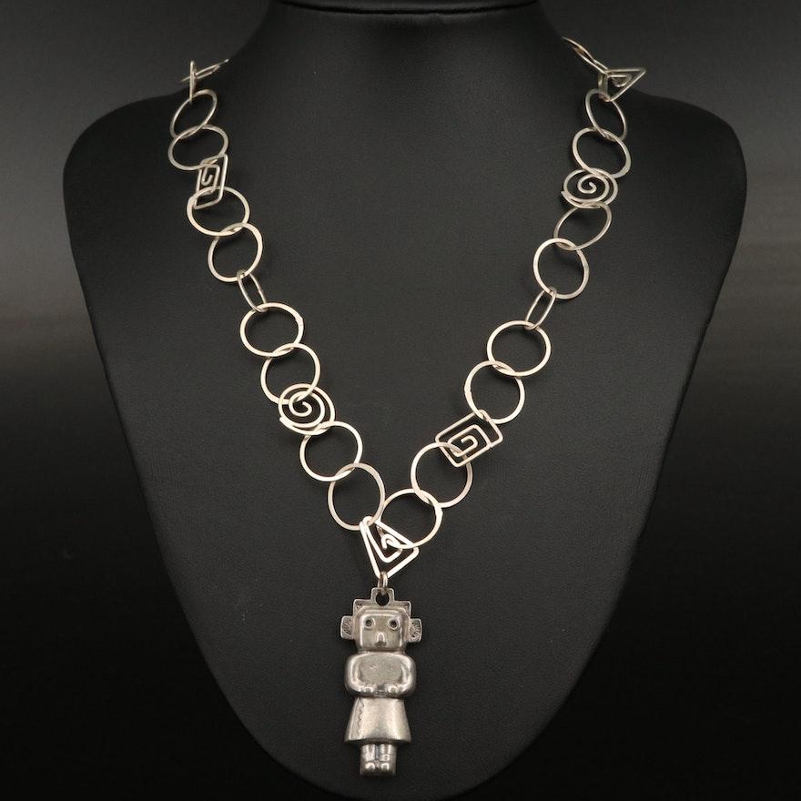 Sterling Silver Mudhead Kachina Necklace