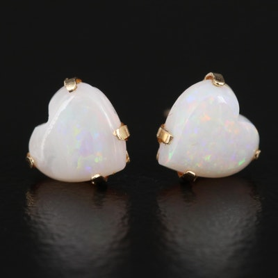 14K Opal Heart Stud Earrings
