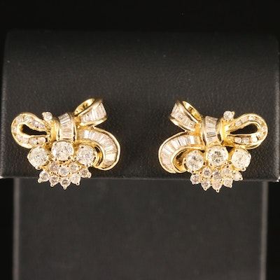 14K 1.42 CTW Diamond Bow Earrings