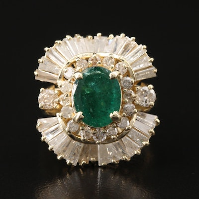 14K 2.75 CT Emerald and 2.75 CTW Diamond Ballerina Ring