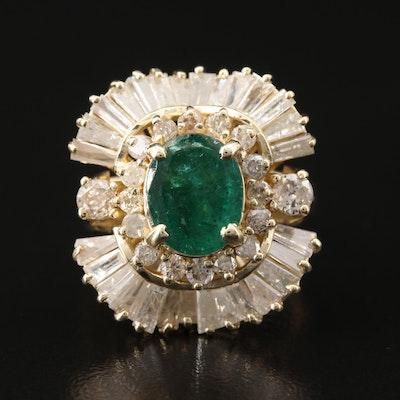 14K 2.75 CT Emerald and 2.75 CTW Diamond Ballerina Ring