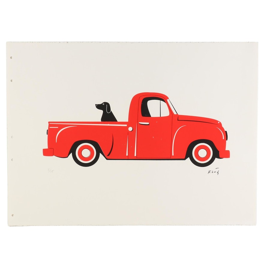 """Dave Klug Serigraph """"The Red Truck,"""" 21st Century"""