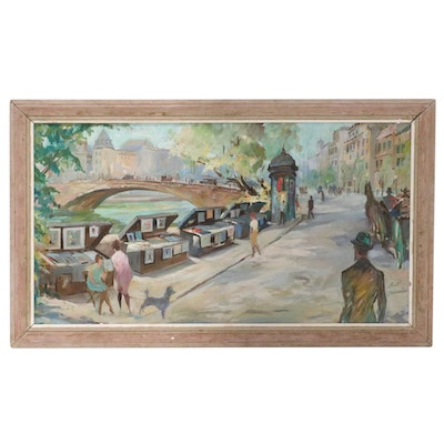 Walter Schneider Oil Painting of Paris Street on Seine River, Mid-20th Century