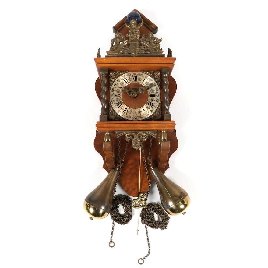 German Linden Zaandam Atlas Style Wall Clock, Mid-Late 20th Century