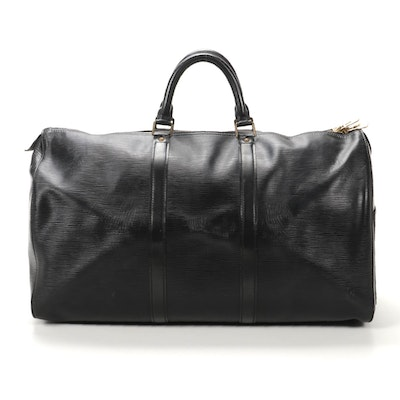 Louis Vuitton Keepall 50 in Black Epi and Smooth Leather