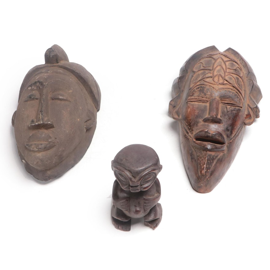 Yaure Style Mask with Tikar Mask and Ancestor Figure, Cameroon