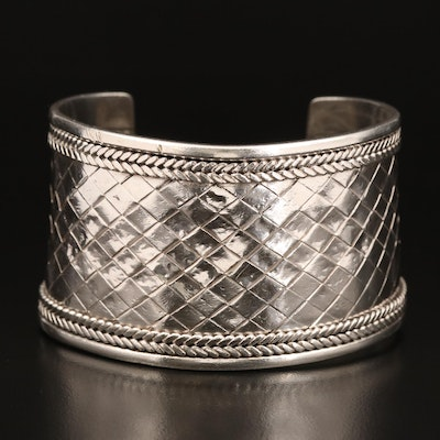 Sterling Woven Patterned Cuff