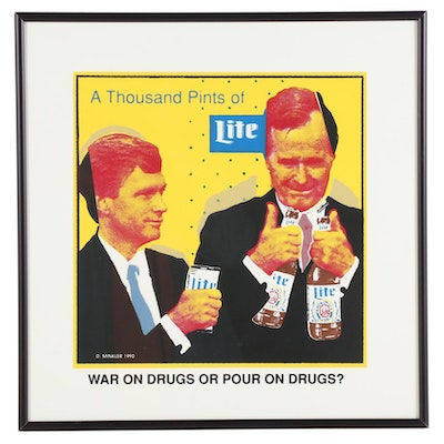 "Serigraph after Doug Minkler ""A Thousand Pints of Lite,"" circa 2000"