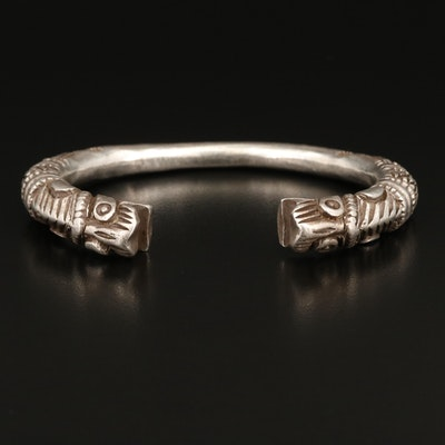 Vintage Indian Himachal Pradesh Sterling Double Tiger Head Cuff