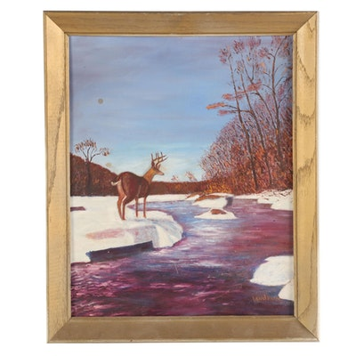 Oil Painting of Winter River Scene with Buck, Mid to Late 20th Century