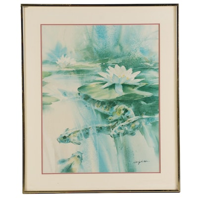 Offset Lithograph after Brent Heighton of Koi and Waterlilies, Late 20th Century
