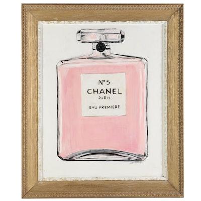 Heather Heintschel Acrylic Painting of Chanel No. 5 Perfume Bottle, 2021