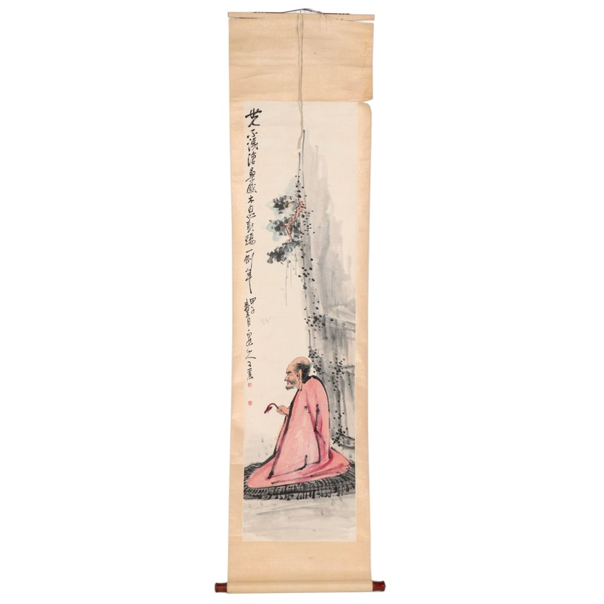 Chinese Gouache Painting of Philosopher on Hanging Scroll