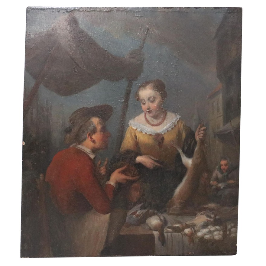 Genre Oil Painting of Market Scene, 19th Century
