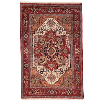 3'11 x 6'2 Hand-Knotted Indo-Persian Heriz Serapi Area Rug, 2010s