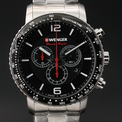 "Wenger Roadster ""Dark Night"" Chronograph Stainless Steel Wristwatch"