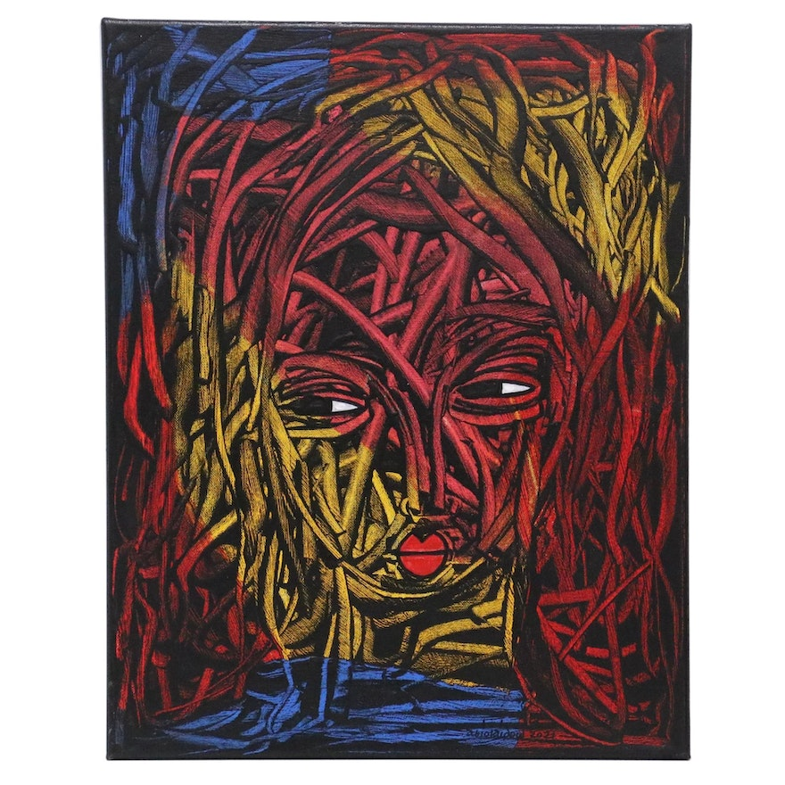 """Abiola Idowu Mixed Media Painting """"Attraction,"""" 2020"""