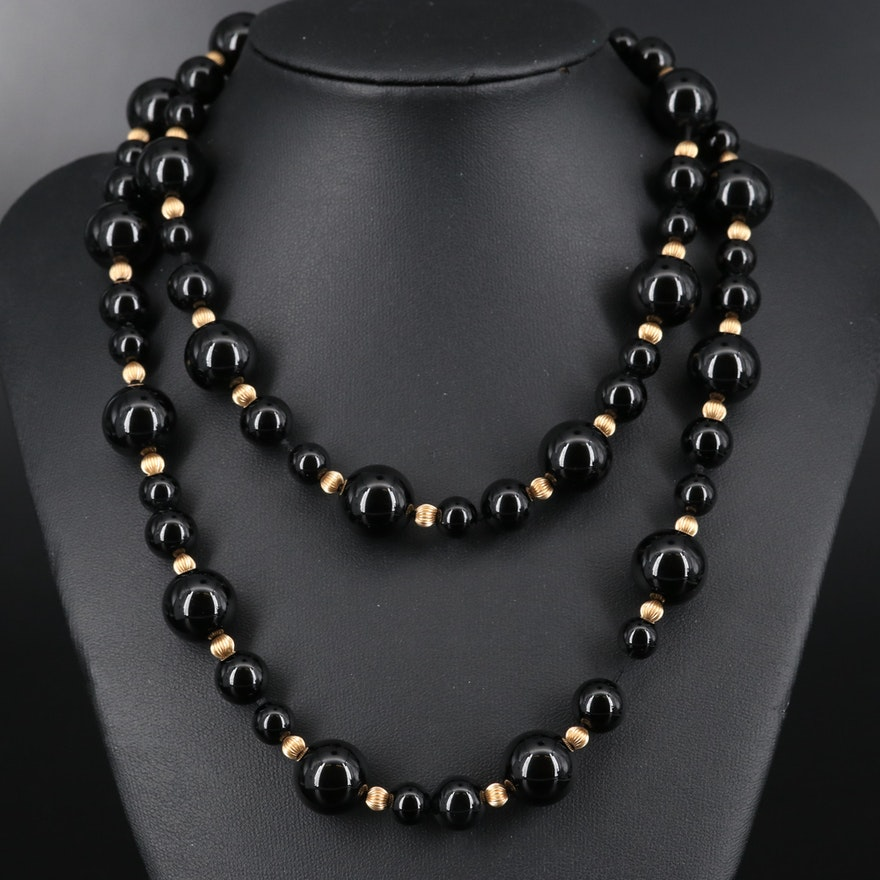 Black Onyx Beaded Necklace with 14K Fluted Beads and Clasp