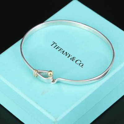 Tiffany & Co. Sterling Hook and Eye Bangle with 18K Accents