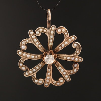 Victorian 9K Diamond and Seed Pearl Pendant