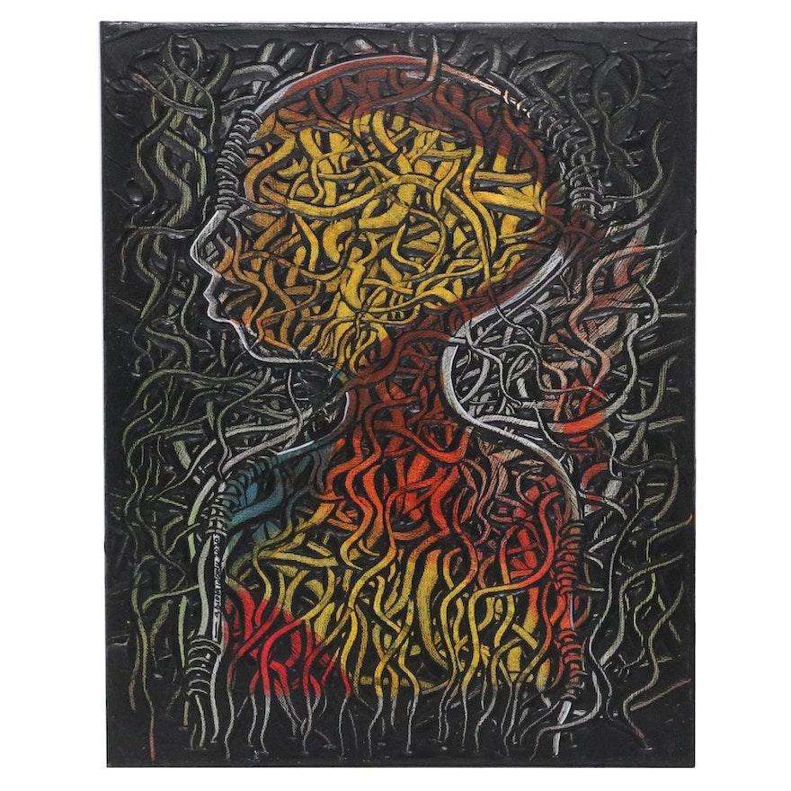 "Abiola Idowu Mixed Media Painting ""Dominion,"" 2020"