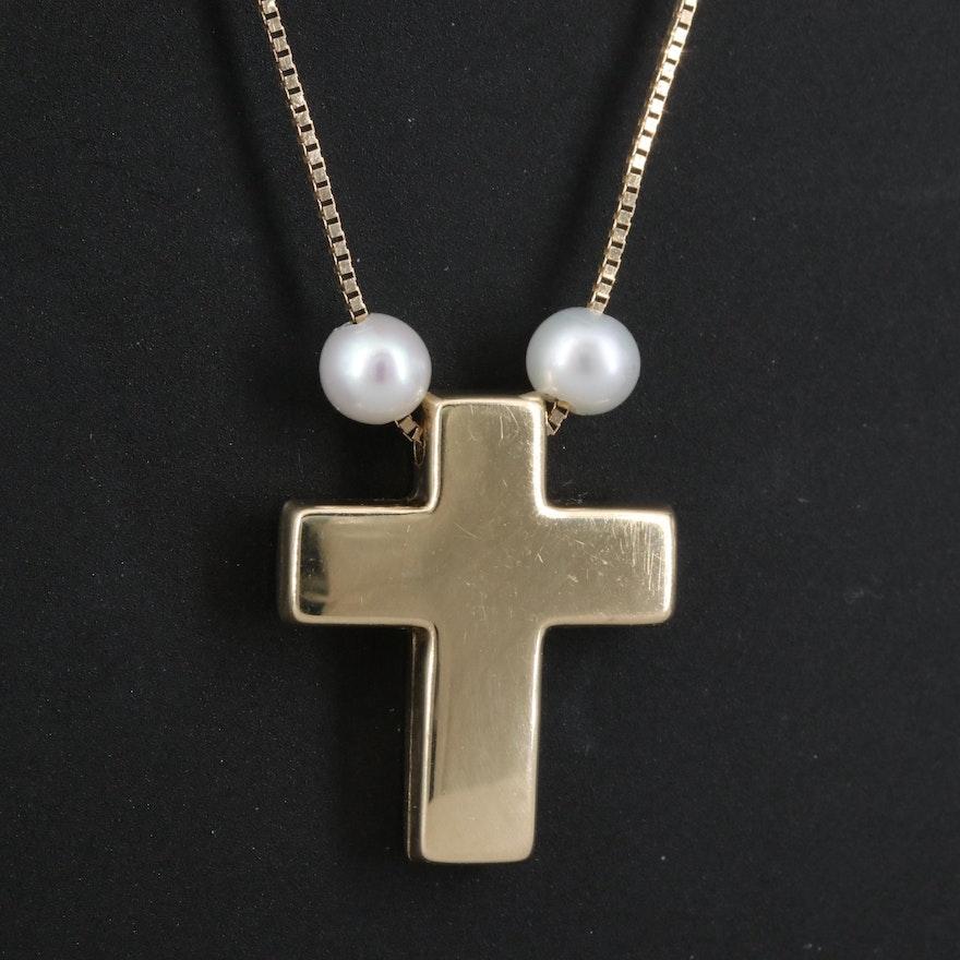 14K Pearl Cross Pendant Necklace