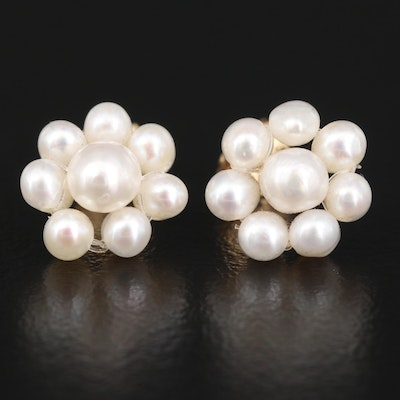 14K Pearl Cluster Stud Earrings