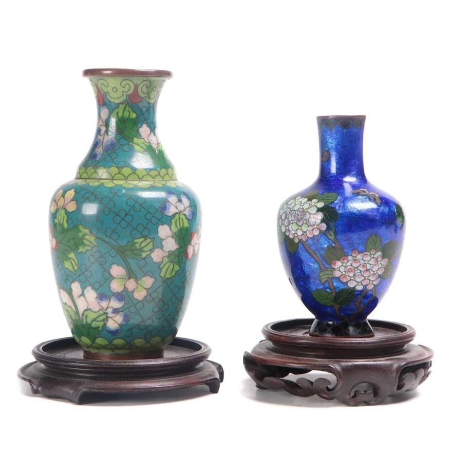 Chinese Cloisonné Lotus Motif Vase with Japanese Ginbari Cloisonné Bud Vase