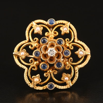 14K Diamond and Sapphire Converter Brooch