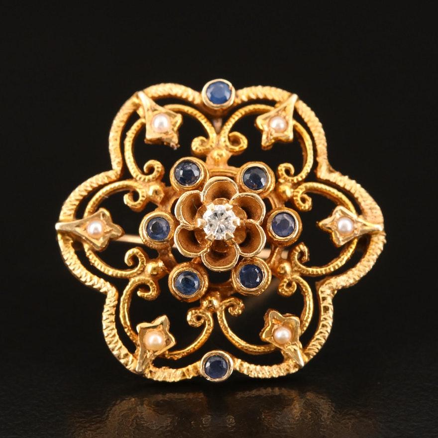14K Diamond and Sapphire Converter Brooch