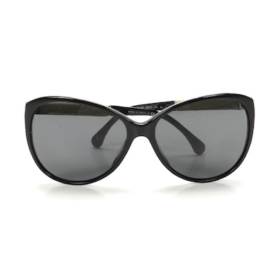 Chanel 5225-Q-A Quilted Leather Modified Cat Eye Sunglasses with Case