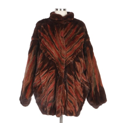 Dyed Striped Mink Fur Coat with Dolman Sleeves by Koslow's