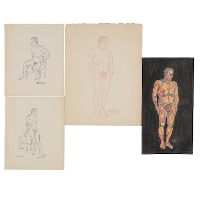 """Franklin Folger Ink and Mixed Media Drawings """"Self Portrait,"""" 1962"""