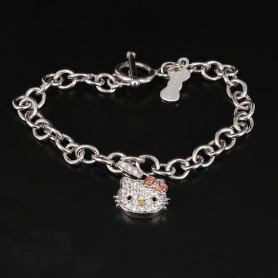 Hello Kitty Sterling Silver Sapphire and Diamond Charm Bracelet