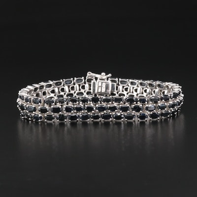 Sterling Silver Sapphire Three Row Link Bracelet