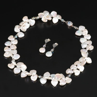 Sterling Silver Pearl, Rainbow Moonstone and Marcasite Necklace and Earring Set