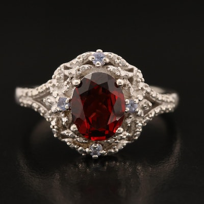 Sterling Garnet and Tanzanite Ring