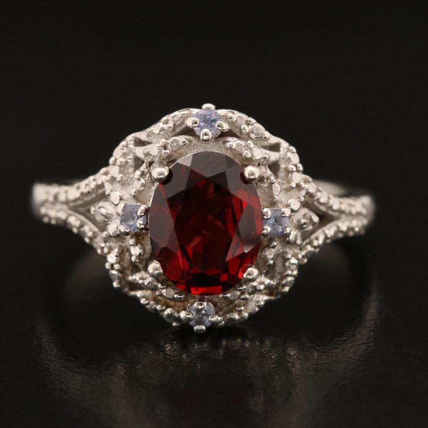 Sterling Garnet and Tanzanite Ring