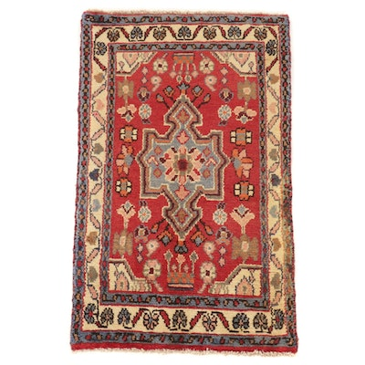 1'10 x 3' Hand-Knotted Persian Zanjan Accent Rug, 1970s