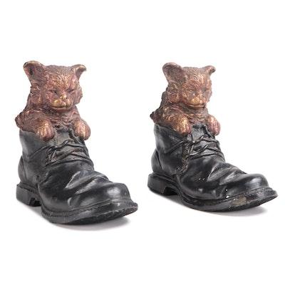 Pair of Metal Puss N' Boots Door Stop Figurals, Mid 20th Century
