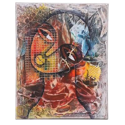 "Abiola Idowu Mixed Media Painting ""Diary of Greatness,"" 2021"