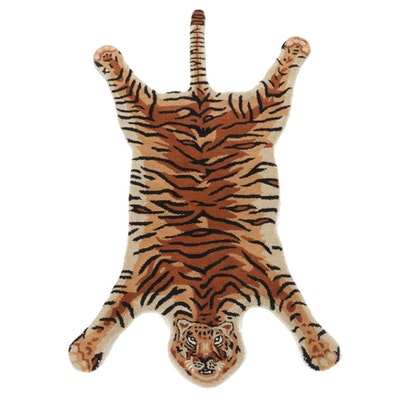 3' x 5'1 Hand-Tufted Indian Tiger Shaped Accent Rug, 2000s
