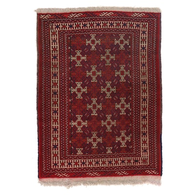 3'1 x 4'4 Hand-Knotted Persian Turkmen Accent Rug, 1970s