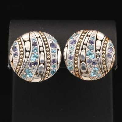 John Hardy Sterling Iolite and Topaz Disk Earrings with 18K Accents