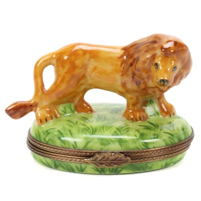 Limoges Hand-Painted Porcelain Lion Shaped Box, Late 20th Century