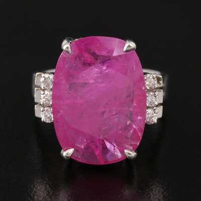 Platinum 7.49 CT Ruby and Diamond Ring with GIA Ruby Report