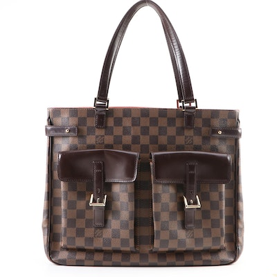 Louis Vuitton Uzès Tote in Damier Ebene Canvas with Smooth Brown Leather Trim