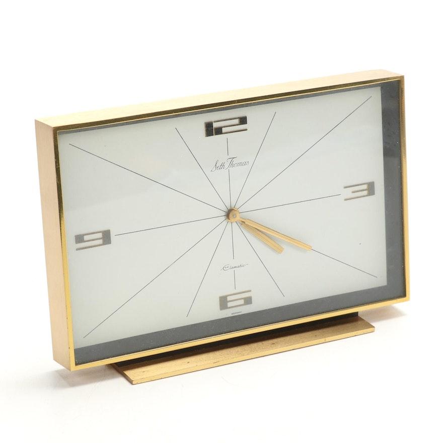 Seth Thomas Clomatic Modern Brass Desk Clock, Late 20th Century