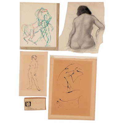 Rita Hoelker, Louisa Lang and More Figural Drawings, Late 20th Century